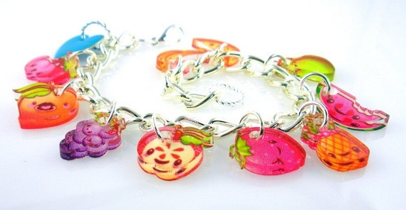 Fruity Fun Charm Bracelet 7 inches 30 Percent Off