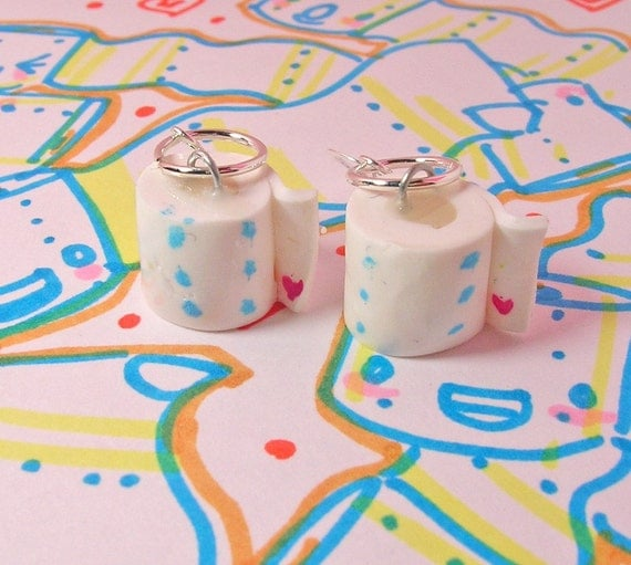 toilet paper roll earrings by acrylicana on etsy