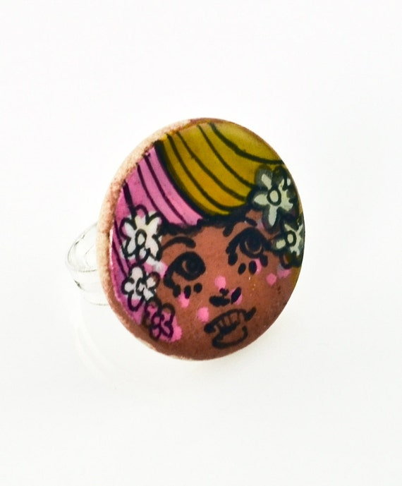 Little Pink Yellow Face Wood Charm Painting Ring