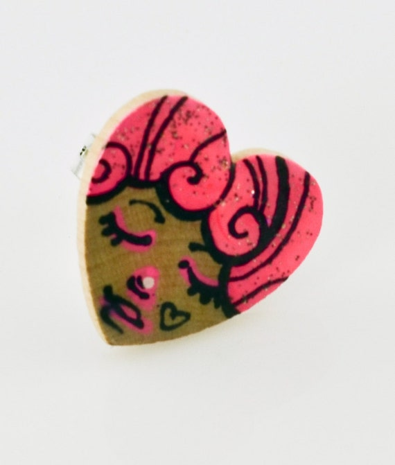 Little Pink Face Wood Charm Painting Ring