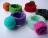 Felt Ballie Ring . Turquoise and Purple