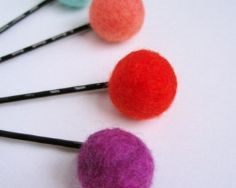 Felted Ballie Hairpin Set . Tropical Colors
