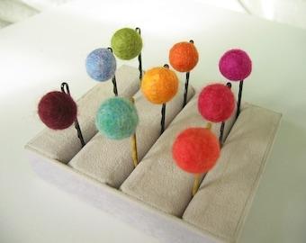 Four Felted Ballie Hairpins . Custom Colors