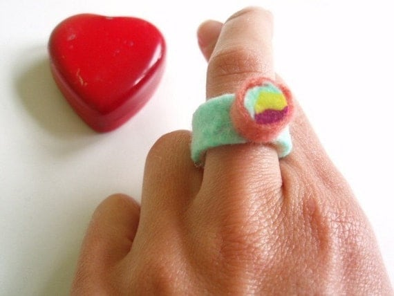 Tri-Color Felted Ring with Free Shipping