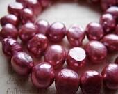 Raspberry Ice Freshwater Pearls - 10MM - One Strand - B-5219