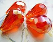 Rich Red Czech Crystal Teardrop Beads - B-7011