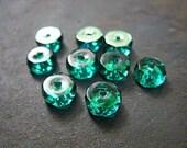 Emerald Green Czech Rondelle Beads, 8MMx4MM - B-6445