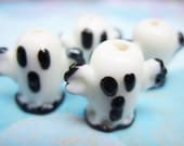 White and Black Ghost Lampwork Beads - B-6038