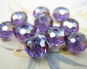 Purple Czech Crystal Rondelle Beads - 8MMx5MM - B-6618