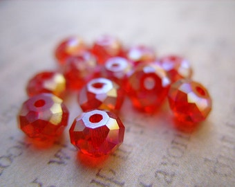 Ruby Red Czech Crystal Beads - 6MM x 4MM - B-6417