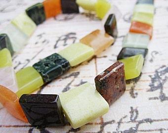 Mixed Gemstone Flat Square Beads - 13MM - One Strand - B-6664