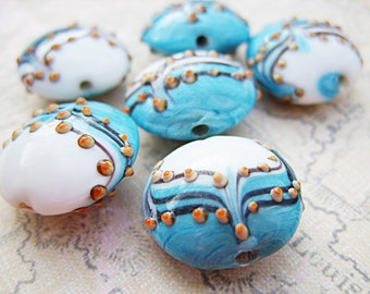 Blue, White and Black Lampwork Beads - B-7253