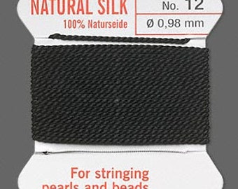 Black Silk Beading Thread - Size No. 12 - B-5996