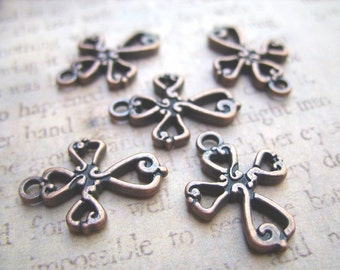 Pewter Cross Charms - Antique Copper-Colored - B-6662