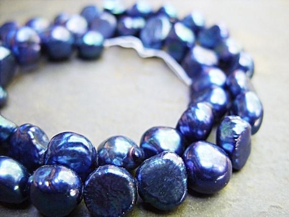 Brilliant Blue Chunky Freshwater Pearls - 9MM - One 16 Inch Strand - B-6386