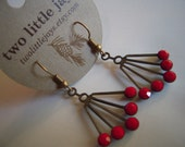 Art Deco Earrings Red Swarovski Crystal Dangles