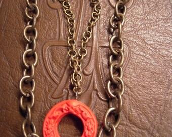 Red Boho Brass Necklace Burnt Orange Circle Buddha