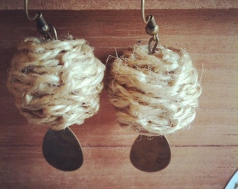 Macrame Earrings with Antiqued Brass Dangles