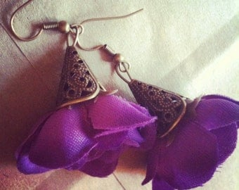 Flower Earrings Purple Garden Earrings with Antiqued Brass Filigree Dangles