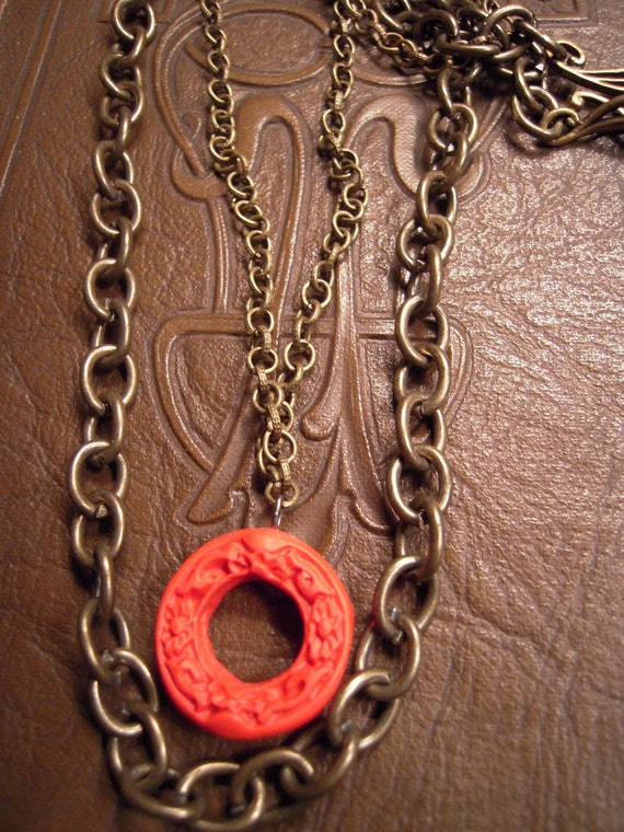 Burnt Red & Brass Necklace