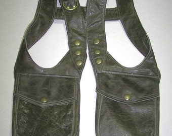 Olive Green Leather Double Shoulder holster bag - Made to Order by Darkwear Clothing Co