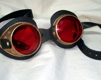 Gold Mad Scientist Steampunk Dr Who Goggles Leather Straps - By Darkwear Clothing