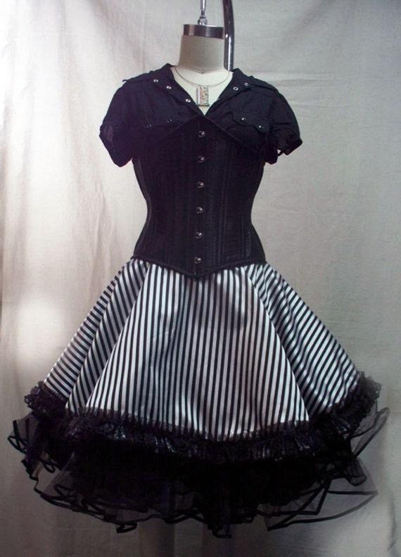 Darkwear Clothing -Black White Stripe Circle Skirt  Small Circus Saloon Girl Goth Alice AGF EGL Lolita