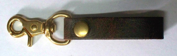Darkwear Clothing Distressed Brown Leather Key Fob Snap Hook w Brass Snap & Hook