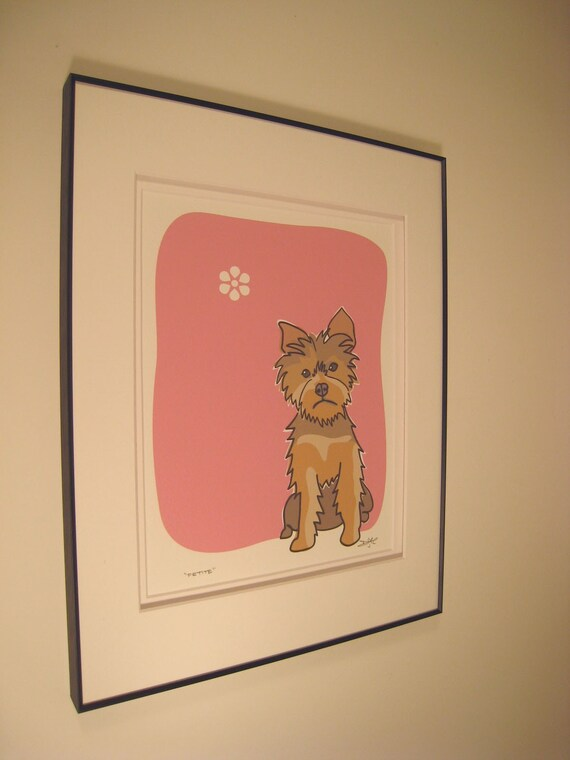 Petite - a Yorkie - Signed and Framed Yorkshire Terrier print in the Dog Series by Danielle J Hurd