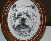 West Highland  WHITE TERRIER etched in marble