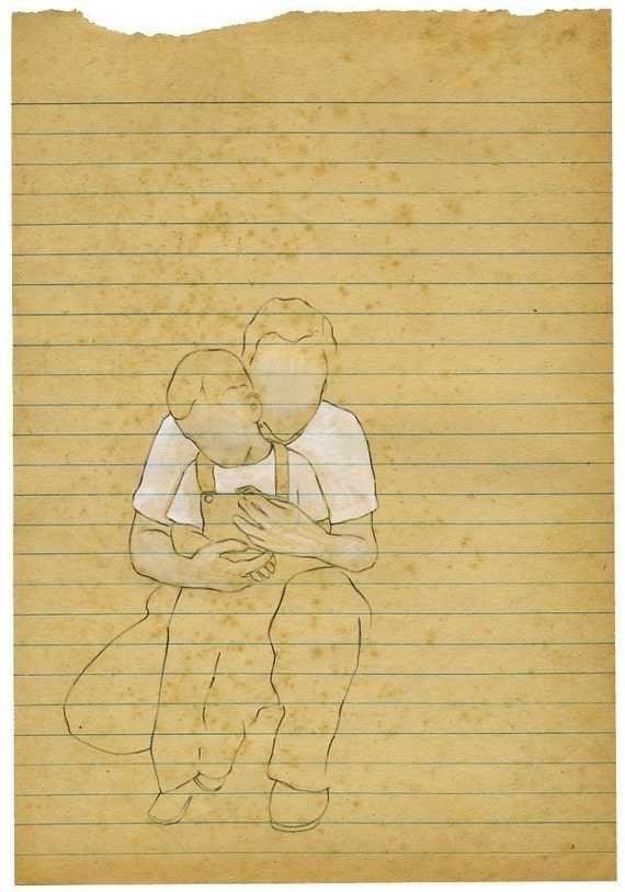 27 Months Old...archival print from original drawing on vintage paper...