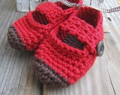 DARK chocolate dipped booties--fire engine red