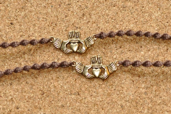Chocolate and Gold Claddagh Tie Ons Small