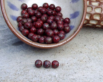 10mm Vintage Brick Red Picasso glass bead