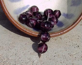 Vintage Purple Striped Lampwork Melon glass bead TT