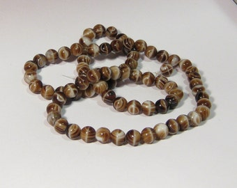 Vintage Brown White Swirl Glass Bead TT
