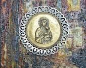 Virgin Mary altered art plaque