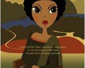 Afro'na Lisa - Limited Edition ACEO ATC- Jaishi - Big Eyed Diva