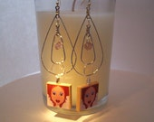 SALE...Sterling Silver Plated Drop Earrings with Art by Jaishi