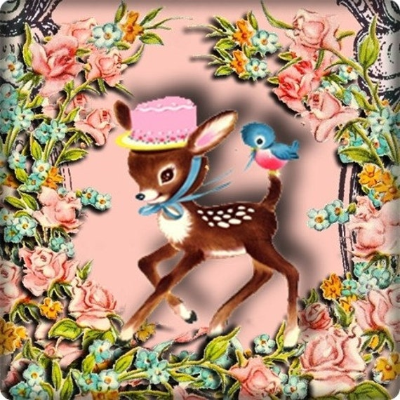 Whimsical Deer and BlueBirds and roses Vintage Style Etsy Shop Banner and Avatar by Sea Dream Studio