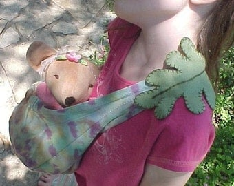 Doll (or Bear) Sling Hand dyed with Embroidered Felt Leaf or Flower