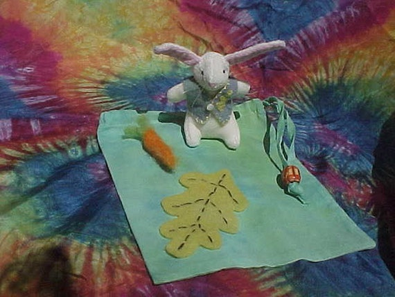 Waldorf Teeny Bunny with Needle Felted Carrot, in a Gift Bag