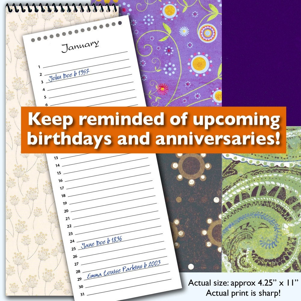 perpetual birthday and anniversary calendar by easylifeproductions