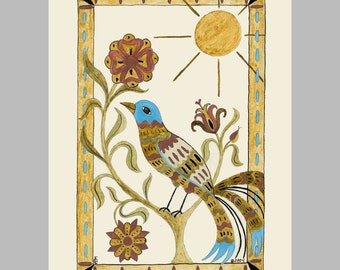 "Folk art frameable greeting card print, ""Stained Glass"""