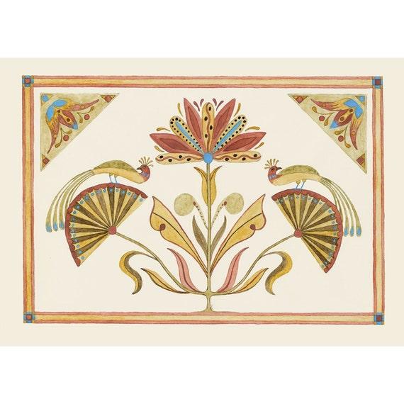"Folk art frameable greeting card print, ""Symbolism"""