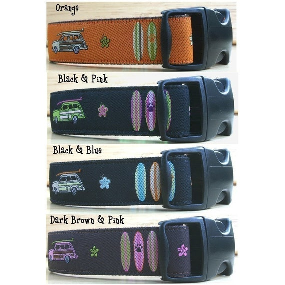 Preppy Ribbon Summer Surfer Surfing Surfboard Dog Collar Exclusive Design Click For More Color Choices
