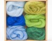 Forest & Sky Wool Roving Colors Set for Felting - Corriedale