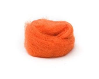 Orange Wool Roving for Felting - 1 oz. Corriedale