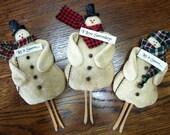Vintage Prim clothespin style Snowman Ornament Unique