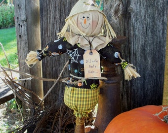 "Make-do Scarecrow on vintage spindle ""If I only had a brain"""